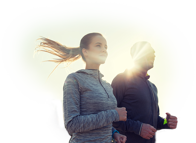 A man and a woman jogging